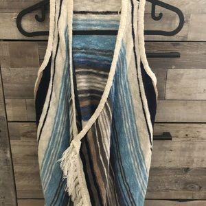 Justice Knit Stripe Fringe Vest